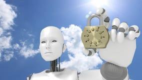 Żeński robot przed pogodnym niebem trzyma złotą kłódkę ilustracja wektor