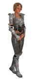 Żeński rycerz w ozdobnym opancerzeniu odizolowywającym Obrazy Royalty Free