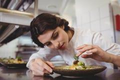 Żeński szef kuchni egzamininuje zakąska talerza przy rozkaz stacją Zdjęcie Stock