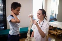 Żeński terapeuta wskazuje przy sztucznym kręgosłupem podczas gdy wyjaśniający chłopiec zdjęcie stock