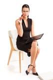 Żeński uczeń dla biznesu na białym tle Zdjęcia Royalty Free