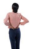 Żeński wykonawczy cierpienie od backache obrazy stock