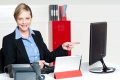 Żeński wykonawczy wskazywać przy ekranem komputerowym Fotografia Stock