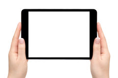 Żeńskie ręki trzymają urządzenie przenośne na białym tle Obrazy Stock