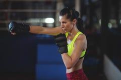 Żeńskiego boksera spełniania bokserska postawa zdjęcie stock