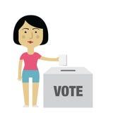 Żeńskiego charakteru kładzenia głosowanie W tajnego głosowania pudełku Zdjęcia Stock
