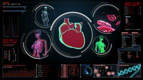 Żeńskiego ciała skanerowania naczynie krwionośne, limfatyczny, kierowy, krążeniowy system w cyfrowym pokazie, ilustracja wektor