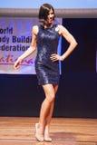Żeńskiej postaci model w wieczór sukni pokazuje jej best Fotografia Stock