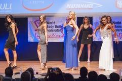 Żeńskiej postaci modele w wieczór sukni pokazują ich best Obraz Stock