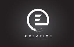 E与圈子刷子设计和黑色Backgr的通知商标 皇族释放例证