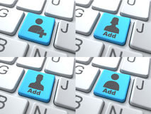 E约会概念-在键盘的蓝色按钮 库存照片