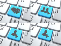 E约会概念-在键盘的蓝色按钮 免版税库存图片