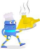 234e逗人喜爱的机器人享受他的行业作为厨师炸鸡 免版税库存图片
