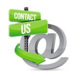 E邮件与我们联系在标志 免版税库存图片