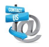E邮件与我们联系在标志 库存照片