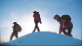 E 小组队旅游徒步旅行者给攀登山的上面 成功 股票录像