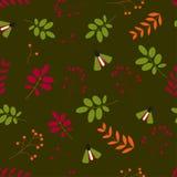 E Άνευ ραφής σχέδιο: φύλλα, μούρα, έντομα, εμείς πράσινο υπόβαθρο διανυσματική απεικόνιση