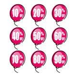 E Έκπτωση με τη διάφορη τιμή Σύνολο ετικέττας πώλησης Ballon σχεδιαγράμματος προσφοράς έκπτωσης ετικεττών Promo διανυσματική απεικόνιση