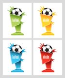 E Έμβλημα διαλόγου σε ένα αθλητικό θέμα Λεκτική φυσαλίδα για το βραβείο με μορφή βάθρου για μια σφαίρα ποδοσφαίρου στοκ εικόνες