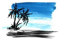 E Ένα σημείο των ραβδωμένων μπλε ραβδώσεων χρωμάτων Hand-drawn απεικόνιση watercolor διανυσματική απεικόνιση