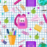 E Διανυσματικό άνευ ραφής σχολικό σχέδιο Χαριτωμένη τυπωμένη ύλη παιδιών kawaii, σύσταση o Τακτοποιημένο έγγραφο καταλόγων ελεύθερη απεικόνιση δικαιώματος
