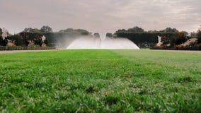 E Μεγάλη πηγή στον κήπο με το ράντισμα του νερού Στο πρώτο πλάνο ένας πράσινος χορτοτάπητας με τη χλόη r απόθεμα βίντεο