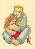 E μεγάλος ισχυρός άνδρας και η μικρή εύθραυστη γυναίκα του αγκαλιάστε εγχώριο άτομο και κορίτσι μόδας απεικόνιση αποθεμάτων