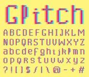 E οκτάμπιτα σύμβολα θορύβου Ψηφιακό τηλεοπτικό ύφος παιχνιδιών Επιστολές και αριθμοί Εκλεκτής ποιότητας αναδρομικός χαρακτήρας ab διανυσματική απεικόνιση