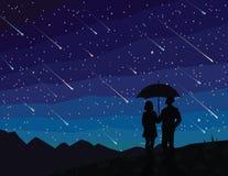 E Σκιαγραφία του ζεύγους κάτω από την ομπρέλα, μειωμένα αστέρια προσοχής Ο έναστρος νυχτερινός ουρανός Ντους μετεωριτών διανυσματική απεικόνιση