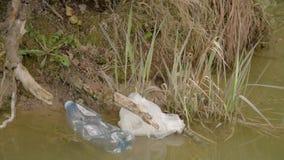 E Συλλογή απορριμάτων Το χέρι καθαρίζει τα πλαστικά απόβλητα Προστασία του περιβάλλοντος, πλαστικά μπουκάλια απόθεμα βίντεο