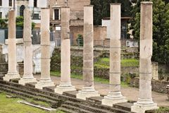 E Υπόλοιπος κόσμος των στηλών στο ρωμαϊκό φόρουμ Οι στήλες είναι ορατές στοκ φωτογραφίες