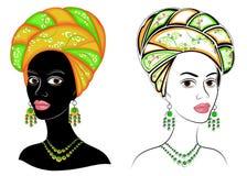 E Голова сладкой дамы На голове Афро-американской девушки яркие шарф и тюрбан Женщина красива иллюстрация штока