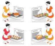 E Дама варит еду Девушка печет в блюдах печи различных, булочках, круассанах, пироге, гусыне, индюке A бесплатная иллюстрация