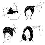 E Дама в салоне красоты Девушка делает ее волосы Женщина моет ее волосы, режет ее волосы, сушит фен для волос, лакирует иллюстрация вектора
