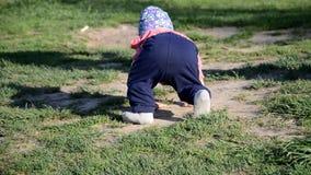 E девушка малыш идет вокруг озера учит идти r видеоматериал