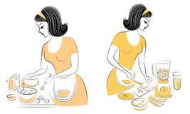 E E Девушка подготавливает еду Женщина смешивает продукты для пирога, делая свежие фрукты из a иллюстрация вектора