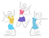 E E Девушка счастлива, поднятый скачущ для утехи, ее рукам Женщина нага и худенька бесплатная иллюстрация