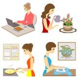 E Жизнь дамы Девушка подготавливает съесть, вырасти цветки, одежды утюга, работы на компьютере E иллюстрация штока