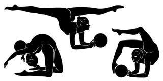 E Звукомерная гимнастика Силуэт девушки с шариком Красивый гимнаст женщина тонкий и молод r иллюстрация вектора