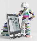 E-книга и человек книги Стоковые Фотографии RF