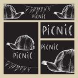 E Комплект дела форматирует с изображениями для пикника в стиле Doodle на черной предпосылке доски бесплатная иллюстрация