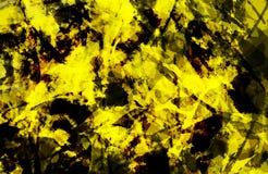 E Красочная желтая и черная текстура grunge Brushstrokes краски Краска брызгает стоковая фотография rf