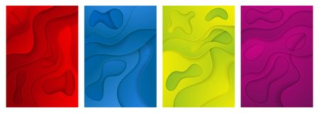 E Набор 4 вариантов Слои отрезанные от бумаги иллюстрация вектора