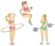 E Небольшая дама Девушки приниманнсяый за фитнес, поднимают бар, переплетает круг Женщина молода и худенька, с a бесплатная иллюстрация