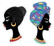 E Профилируйте голову сладкой дамы Афро-американская девушка с красивым hairdo Дама носит тюрбан, соотечественник иллюстрация штока