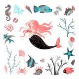 E пузыри копируют вектор текста космоса seaweeds моря жизни иллюстрации рыб Стоковые Изображения