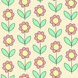 E Розовый цветок на желтой предпосылке Обои для комнаты детей r иллюстрация вектора