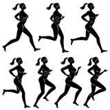 E Силуэт худенькой дамы Девушка бежит Женщина идет внутри для спорт, усиливает здоровье r бесплатная иллюстрация