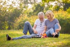 E старые люди сидя на траве в парке лета Пожилой отдыхать стоковые изображения rf