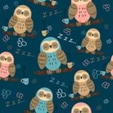 E Сычи мечтают Милый стиль Ткань пижамы r иллюстрация вектора